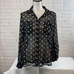 ❤️Old navy black sheer polka dot button down shirt